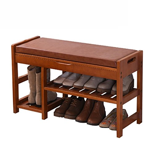 Schoenenkruk met 2 etages, voetenbankje, gevoerd, houten laarzen, retro-opslag, stofdicht, hal, schoenenbank met PU-set, verkrijgbaar in bruin, duurzaam. 250 kg. 84 x 30 x 49 cm.