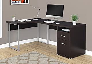 "Monarch Specialties Computer Desk L-Shaped Corner Desk with File Cabinet - Left or Right Set- Up - 80""L (Cappuccino) (B0734B1C47) 