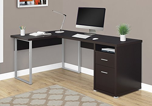 "Monarch Specialties Computer Desk L-Shaped Corner Desk with File Cabinet - Left or Right Set- Up - 80""L (Cappuccino)"