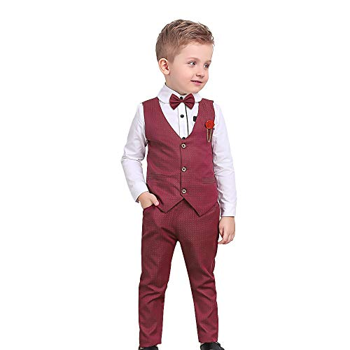 Boys Suits Long Sleeve Shirts + Vest + Pants + Bow Tie 4PCS Party Outfits Kids Formal Tuxedos Sets Burgundy