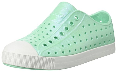 Native Kids Iridescent Jefferson Water Proof Shoes, Glass Green/Shell White/Galaxy Iridescent, 5 Medium US Toddler
