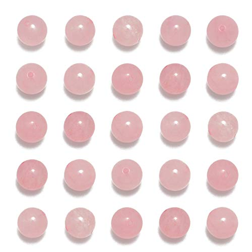 NCB 100pcs Original Natural Stone Beads Gemstone Round Loose Beads 6mm 8mm 10mm (Rose Quartz, 6mm 100Beads)