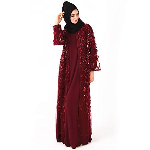 LILICAT Partykleid Muslimische Frauen Kleid Islamische Langarm Maxi Abaya Kaftan Arabische Kleidung Beiläufige Lose Robe Freizeit Slim Fit Rock Tulpenkleid Schößchen