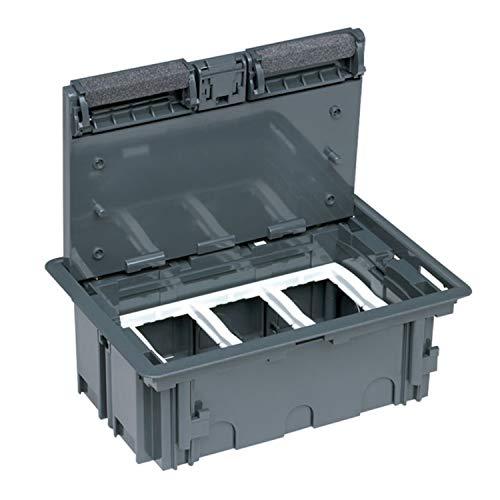 Caja de empotrar en suelo de 3 módulos de 70 milímetros de profundidad, gama Standard, caja gris y marco blanco nieve, 23,6 x 15,8 x 7 centímetros (referencia: CFS37ST/84)
