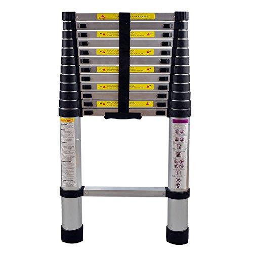 Aluminium Ausziehleiter Hohe Mehrzweckleiter 150 kg Belastbarkeit Schwarz ALTERDJ 3,8M Teleskopleiter mit Stabilisator