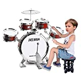 TWFRIC Toy Drum Set for Kids 9 Piece Toddler Drum Kit Bass Drum with Foot Pedal Musical Instruments Playing Rhythm Beat Toy Gift for Boys Girls