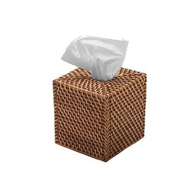 KOUBOO Square Rattan Tissue Box Cover, Honey Brown