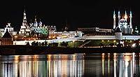 チャーチモスクロシアカザン、ヴォルガ、タタールスタン川NightAdultパズル子供1000ピース木製パズルゲームギフト家の装飾特別な旅行のお土産