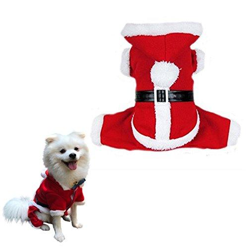 PETLESO 犬服 犬 猫 服 コスプレ コート 秋 冬 クリスマス サンタクロース 防寒着 S