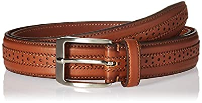 Florsheim Men's Boselli 33MM Dress Casual Leather Belt, cognac, 40