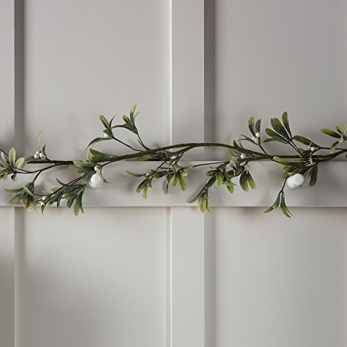 Lights4fun Frosted Garland Mistletoe Artificial Christmas Decoration 1.5m