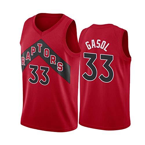 # 33 Gasol # 24 Powell # 27 len Jersey de Baloncesto para Hombres 2021 Nueva Temporada, Raptors Competencia Uniforme Camiseta Deportiva, Chaleco de Secado rápido sin #33 Gasol - XL