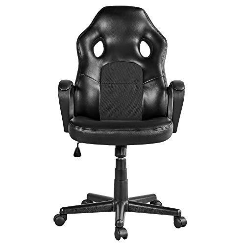 Yaheetech Racing Schreibtischstuhl, Gaming Stuhl gepolsterte Armlehnen, Chefsessel Kunstleder, Racing Stuhl Bürostuhl
