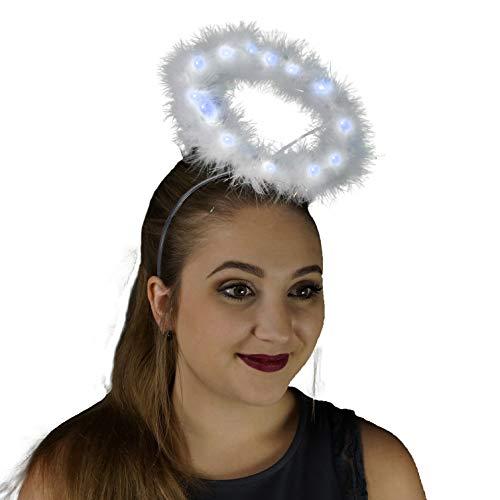 Light Up Angel Halo Headband - White Feather LED Christmas Costume Hair Accessory