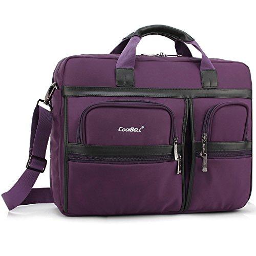 CoolBELL Laptop Briefcase, 17.3 Inch Protective Messenger Bag Nylon Shoulder Bag Multi-Functional Hand Bag for Laptop/Ultrabook/Tablet/MacBook/Dell/HP/Acer/Men/Women/Business (Purple)