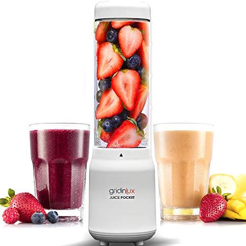 GRIDINLUX. Juice Pocket, Mini Batidora de Vaso. Mini Blender Smoothie, Vaso Botella Portátil, 4 Cuchillas, Libre de BPA, Dieta Detox, Zumos Batidos Smoothies