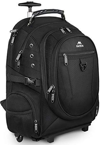 Rolling Backpack, Travel Laptop Backpack with Removable Wheels for Women and Men, 15.6 inch Roller Backpack for Business, School College, Gifts for Him, Her, Boyfriend, Girlfriend, Black