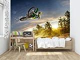 Oedim Vinilo para Pared Infantil Motocross | Fotomural para Paredes | Mural | Vinilo Decorativo |150 x 100 cm | Decoración comedores, Salones, Habitaciones