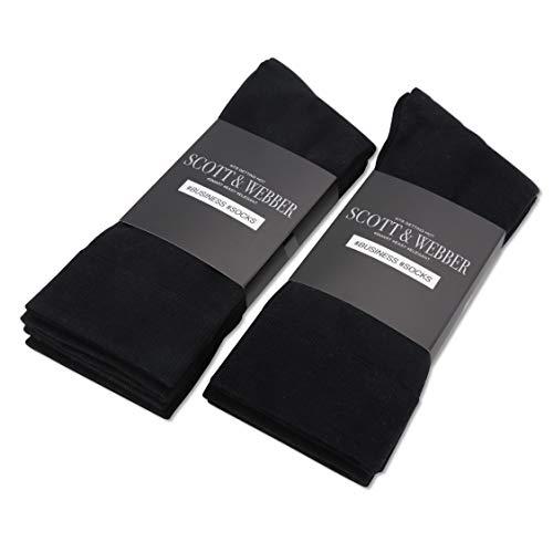 Scott und Webber® - Herren Socken 43-46 schwarz - Baumwolle atmungsaktiv - Business Herrensocken in PREMIUM Qualität