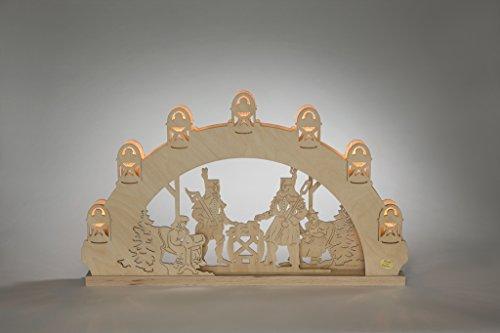 Lichtboog Bergmann lengte ca. 52 cm NIEUW motieflamp lichtboog stuwboog bergkerkerk kerk hout Ertsgebergte Seiffen verlichting bergbouw kerstmis cadeaus kerstman Ruprecht sneeuwpop kerst theelichtjes kaarsen chocolade adventskalender bal