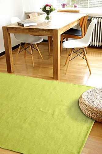 Moderner Baumwoll Teppich Living grün 160x230cm - waschbarer Webteppich aus 100% Baumwolle