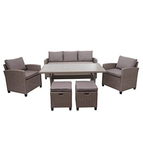 Mendler Poly-Rattan Garnitur HWC-E95, Garten-/Lounge-Set Sofa Sitzgruppe, Tischplatte WPC Spun Poly halbrundes Rattan grau