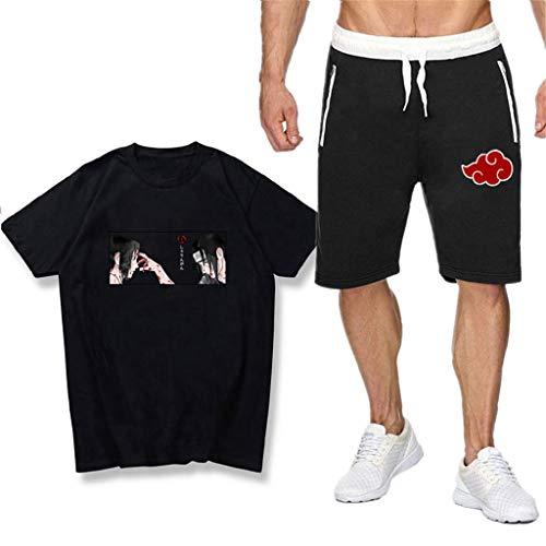 SAFTYBAY Naruto Itachi Sasuke Shirts and Shorts Sets for Mens Boys Naruto Anime Graphic Outfit Kids Summer Tshirt Tracksuit (8,L)