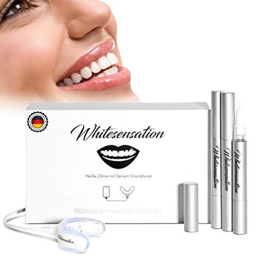 Whitesensation© Zahnaufhellung zum Zähne aufhellen | Zahn Bleaching Set für weiße Zähne | Gegen Gelbe Zähne & Verfärbungen | Teeth-Whitening Kit zum Zähne bleichen | Bleaching Zähne