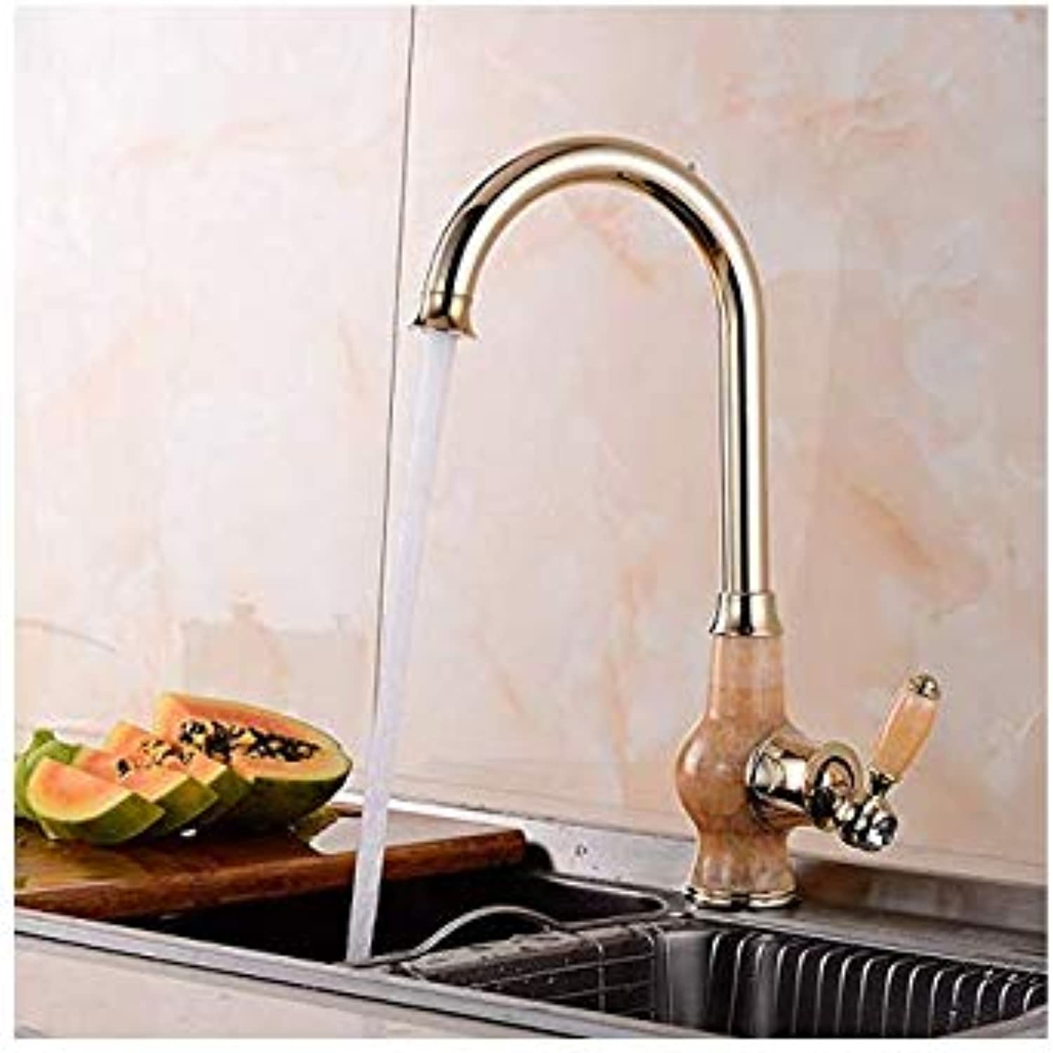 Water Tapfaucet Taps Jade Copper Table Top Basin Hot and Cold Faucet Kitchen Sink Can Be redated gold Antique Faucet, golden Jade