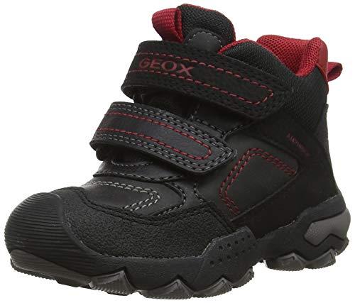 Geox Jungen J BULLER Boy B ABX E Hohe Sneaker, Schwarz (Black/Dk Red C0260), 33 EU