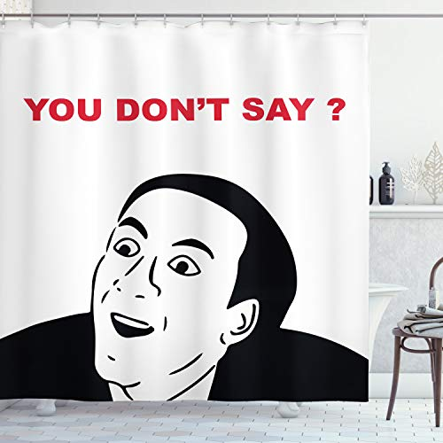 ABAKUHAUS Humor Duschvorhang, Meme lächeln modernes Gesicht, mit 12 Ringe Set Wasserdicht Stielvoll Modern Farbfest & Schimmel Resistent, 175x180 cm, Weiß & Schwarz