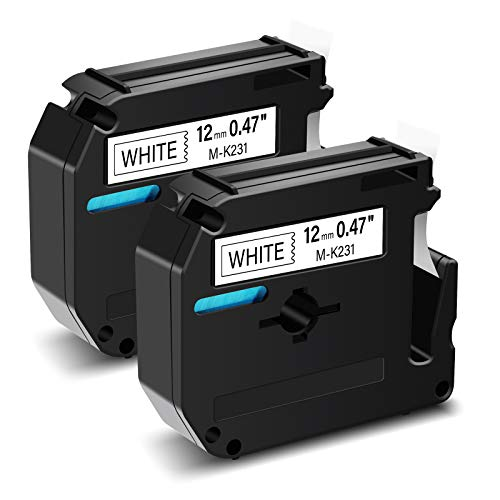 """GREENCYCLE Compatible Brother P Touch M Tape MK231 M-K231 M231 M-K231S MK231S MK-231 12mm 0.47"""" Label Refill Black on White Replacement for Brother PT-M95 PT-90 PT70 PT-65 PT-85 Label Makers (2 Pack)"""