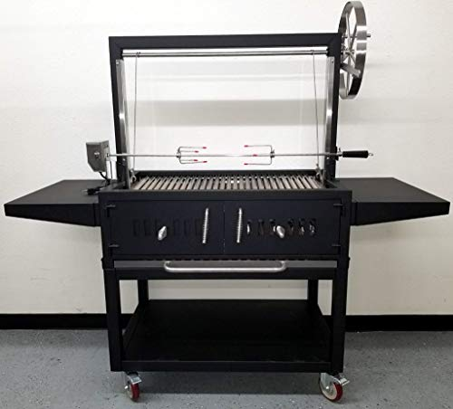 MCP Island Grills Black Outdoor Charcoal BBQ Parrilla Santa Maria/Argentine Grill Spit, with Stainless Steel #304 Grates, Wheels, Handle