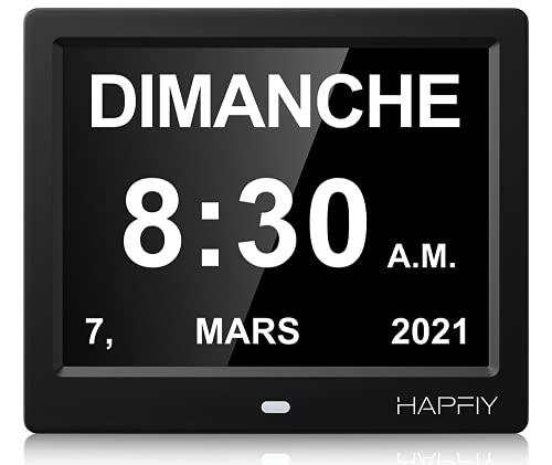 """Hapfiy 8"""" Pouce LCD Horloge Numérique Calendrier avec Date Jour et Heure, Horloge Non-Abrégée Auto Dimming 8 Langues HD Display Rappel pour Alzheimer Le Personne Agée et l'enfant"""