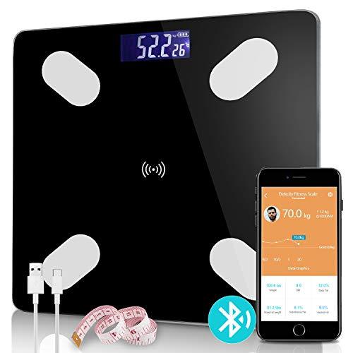 Hengda Personenwaage,Gewichtswaage,Fettwaage Körperfettwaage,App und Bluetooth-Verbindung für iOS und Android,USB-Aufladung,BMI,Gewicht,Muskelmasse,Wasser,Protein,Skelettmuskel,Knochengewicht,BMR