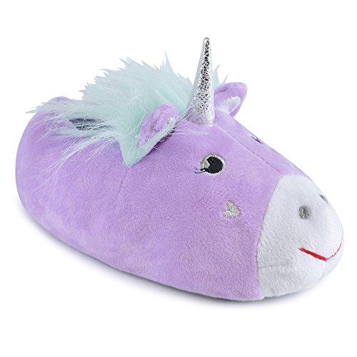 Pantuflas 3D con forro de unicornio de felpa para niñas con suela antideslizante de tela (M 11/12, Lila)