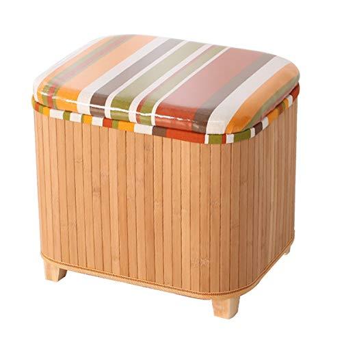 Bamboo opslag opslag kruk opbergdoos kan opslag kruk multifunctionele kleine verandering schoen kruk deur huisopslag stoel zitten (Color : E, Size : Set of sizes)
