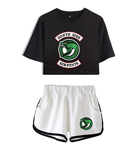 JLTPH Donne e Ragazze Riverdale Southside Serpents Crop Top T-Shirt e Shorts Girocollo Manica Corte Casuale Hip Pop Top e Pantaloncini Magliette Estate Tumblr