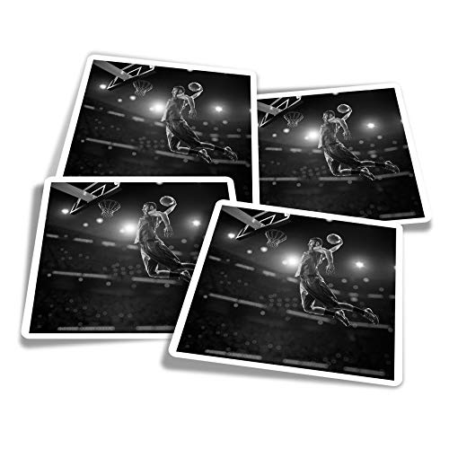 Pegatinas de vinilo (juego de 4) 10 cm – BW – Basketball Player Hoop Ball Pro Fun Calcomanías para portátiles, tabletas, equipaje, reserva de chatarra, frigoríficos #42532