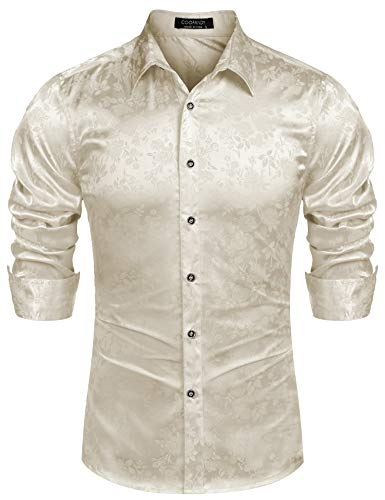 COOFANDY Men's Floral Print Shirt Luxury Shiny Silk Like Satin Button Up Dress Shirts Beige