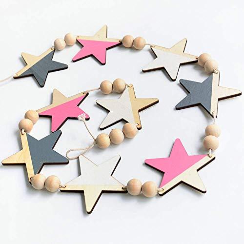 N/H estilo de madera natural estrella colgante de madera perlas colgantes de pared niños bebé decoración accesorios guardería guirnalda decoración