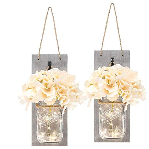 URSING 2PC LED String Ligh Home Retro Wall decoration Light string silk flower Glass bottle Daily decor Vintage Mason Jar Wall Light with Artificial Flower LED Starry Hanging Lantern 1 Set of 2 Packs