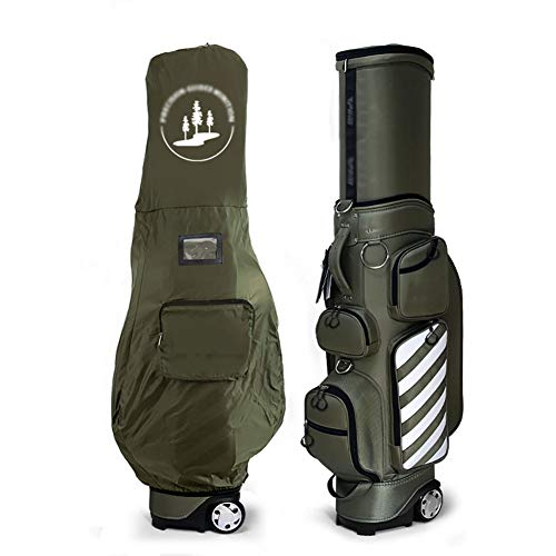 SHX Golftasche, Trolleytasche, Deluxe Reisetasche Golftasche Mit Rollen, Leichte Strapazierfähige Regenhaube Golftasche,Grün