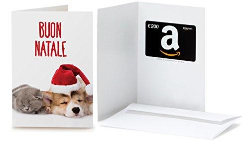 Buono Regalo Amazon.it - €200 (Biglietto d'auguri Gatto e Cane di Natale)