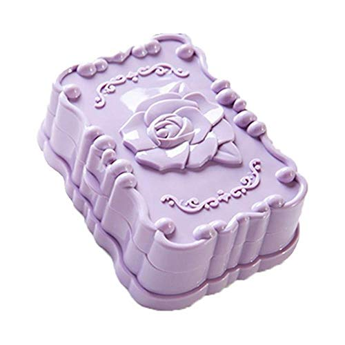 Miner Rose Carved Soap Stand Zeepkist Antislip Bad Douchebak Afvoerplank Bad Gadgets Zeepbakje Zeepbakje Holdez, paars