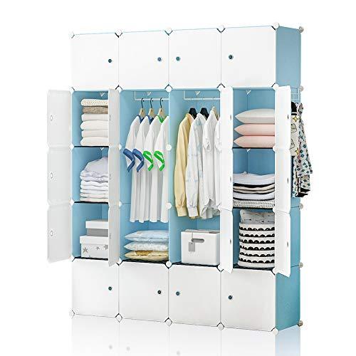 YOZO Modular Closet Wardrobe for Kids Teenagers Plastic Dresser Portable Cube Storage Organizer Toy Cabinet Book Shelf, 20 Cubes, Depth 14 inches, Blue