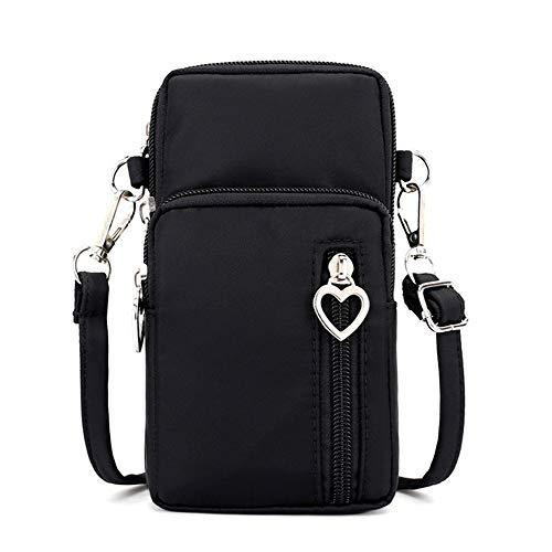 Womens Crossbody Phone Bag Purse Oxford Shoulder Pouch Wristlet Wallet w Card Pocket for iPhone Xs Max 8 7 6 Plus Galaxy Note 9 Note 8 J8 J4+ S10 S9 Sony Xperia XA2 XZ3 XZ2 LG Stylo 4(Black)