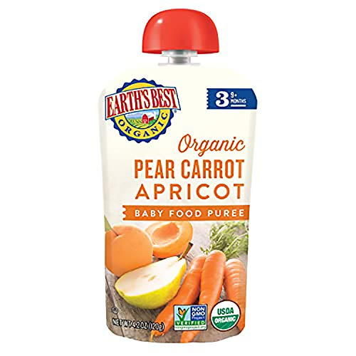 Earth#039s Best Organic Stage 3 Baby Food Pear Carrot Apricot 42 Oz Pack of 12 Packaging May Vary