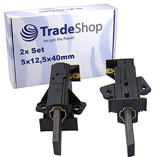 Trade-Shop 2x Kohlebürsten Motorkohlen Schleifkohlen 5 x 12,5 x 42mm mit Halter Typ R 57mm Länge für AEG Bauknecht Fors Fust Husqvarna Waschmaschinen