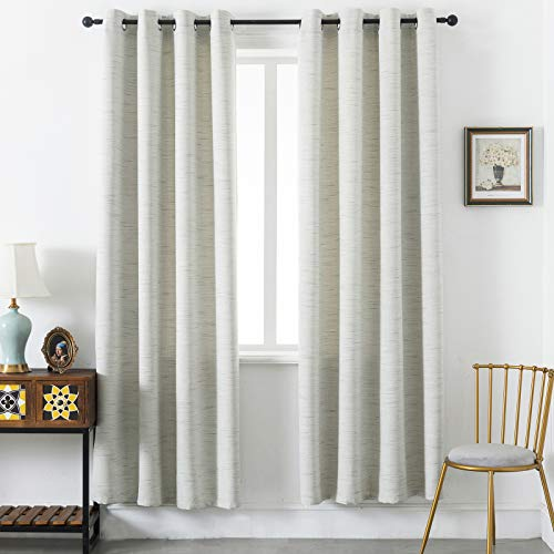 Lipo Primitive Textured Linen Blackout Curtains for Bedroom Energy Saving Window Treatment Curtain Drapes, Burlap Fabric with White Thermal Insulated Liner Beige 52x84